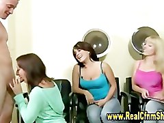 Cfnm horny sluts take turns