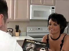 hot short haired milf in stockings fucked in the kitchen