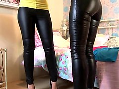 two superhot milfys playing in wet look leggings