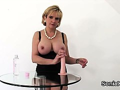 unfaithful uk milf lady sonia showcases her monster knockers