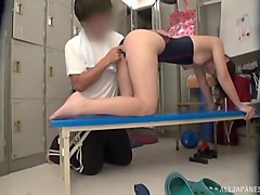 japanese model in a swimsuit and the kinky action in the locker room