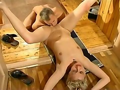 Sexy stripteasing blonde babe gets her pussy licked and fucked by horny man