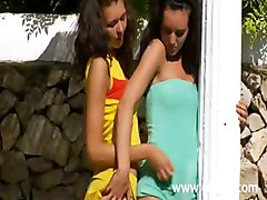 Brunette Lezzies Licking Tits In Garden